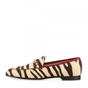 Khaki Zebra Print Horse Fur Loafers for Women