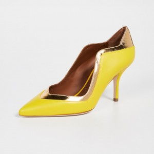 Lemon Yellow and Gold Pointy Toe Stiletto Heels Pumps