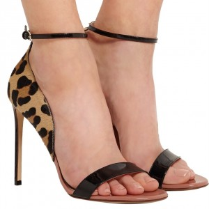 Leopard Print Heels Open Toe Stiletto Heel Ankle Strap Sandals
