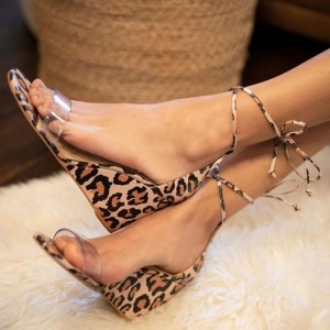 Leopard Print Ankle Strap Wedge Heels Sandals