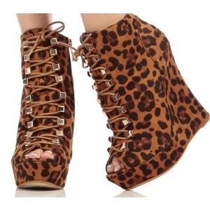 Leopard Print Boots Peep Toe Heels Platform Lace-up Heels Shoes