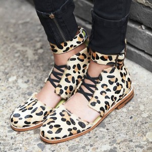 Leopard Print Flats Horsehair Ankle Strap Heels Comfortable Shoes
