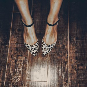 Leopard Print Flats Pointy Toe Ankle Strap Flat Shoes