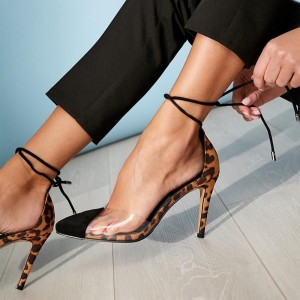 Leopard Print Heels Clear PVC Lace up Stiletto Heel Pumps