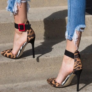 Leopard Print Heels Pointy Toe Ankle Strap Stiletto Heel Pumps