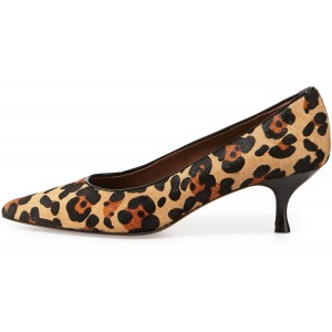 Leopard Print Heels Suede Spool Heel Pumps for Women