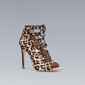 Leopard Print Heels Lace-up Strappy Pumps Peep Toe Shoes