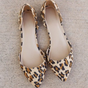 Leopard Print School Shoes Pointy Toe Double D'orsay Pumps Shoes
