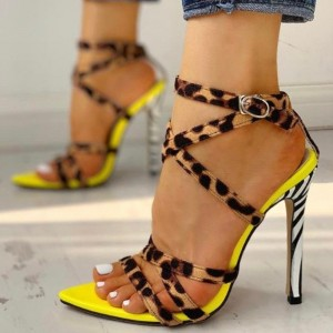 Yellow Cross Over Leopard Print Heels Stiletto Heel Sandals