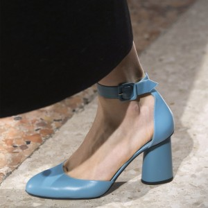 Light Blue Almond Toe Ankle Strap Heels Buckle Chunky Heel Pumps