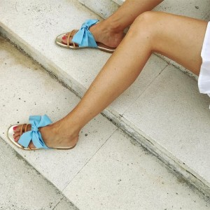 Light Blue Bow Flats Women's Slide Sandals