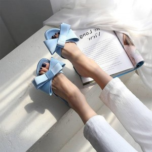 Light Blue Bow Women's Slide Sandals