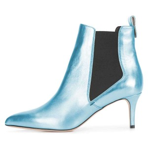 Light Blue Chelsea Boots Stiletto Heel Ankle Boots