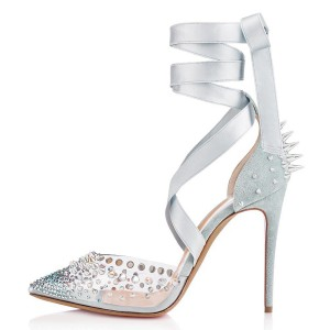 Light Blue Clear Rivets Strappy Heels Pointed Toe Stiletto Heel Pumps