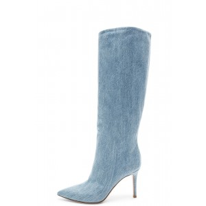 Light Blue Denim Boots Stiletto Heel Knee High Boots