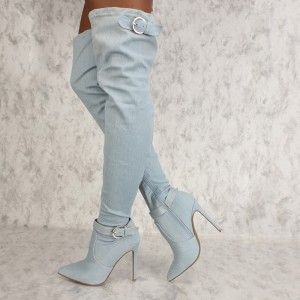 Light Blue Denim Boots Stiletto Heel Over the Knee Boots