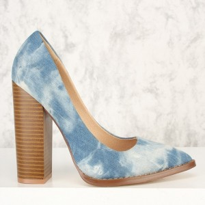 Light Blue Denim Pointy Toe Chunky Heels Mary Jane Pumps