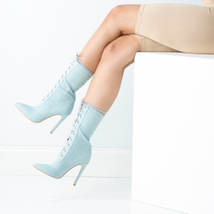 Light Blue Denim Pointy Toe Stiletto Boots Lace up Ankle Booties