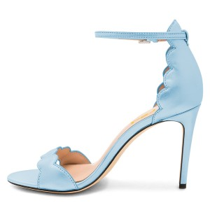 Light Blue Dress Shoes Curvy Stiletto Heel Ankle Strap Sandals