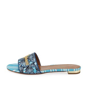Light Blue Floral Letter Embroidered Women's Slide Sandals