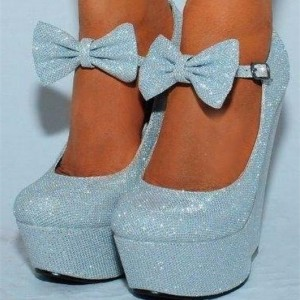 Light Blue Closed Toe Wedges Sparkly Platform Pumps for Prom
