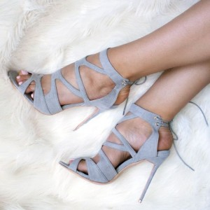 Grey Hollow Out Lace Up Slingback Stiletto Heels Sandals