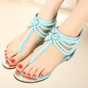 Light Blue Jeweled Sandals Flat T Strap Summer Flip Flops Sandals