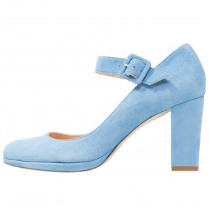 Light Blue Mary Jane Pumps Round Toe Block Heels Office Shoes
