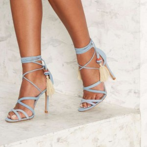 Light Blue Open Toe Strappy Sandals Sexy Stiletto Heel Tassels Sandals