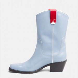 Light Blue Western Boots Patent Leather Chunky Heel Mid Calf Boots