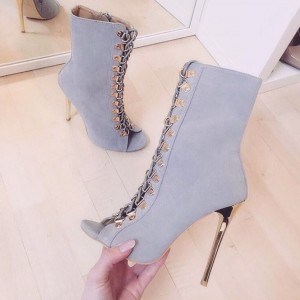 Grey Peep Toe Booties Lace Up Stiletto Heel Ankle Boots