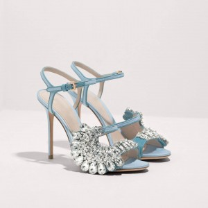 Light Blue Rhinestone Stiletto Heel Jeweled Sandals