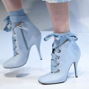 Light Blue Square Toe Lace up Boots Stiletto Heel Ankle Booties