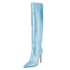 Light Blue Stiletto Boots Sexy Pointy Toe Knee-high Boots