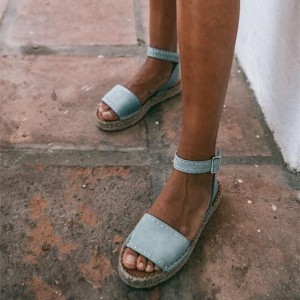 Light Blue Suede Platform Ankle Strap Flat Sandals