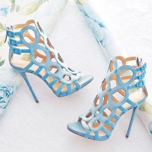 Light Blue Suede Stiletto Heels Hollow Out Buckle Sandals