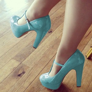 Light Blue T Strap Pumps Patent Leather Chunky Heels