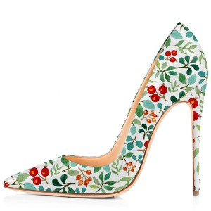Light Green Floral Heels Pointy Toe Stiletto Heels Pumps by FSJ