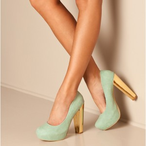 Light Green Suede Platform Heels Round Toe Chunky Heel Pumps