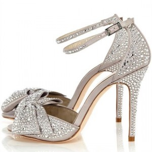 Light Grey Ankle Strap Sandals Rhinestone Hotfix Bow Bridal Sandals