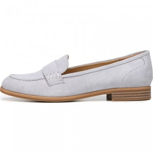 Light Grey Suede Strap Flats Loafers for Women