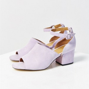 Lilac Peep Toe Ankle Strap Suede Block Heel Sandals
