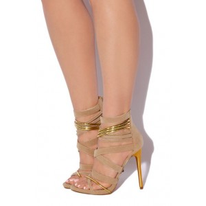 Women's Khaki Suede Strappy Stiletto Ankle Strap Sandals