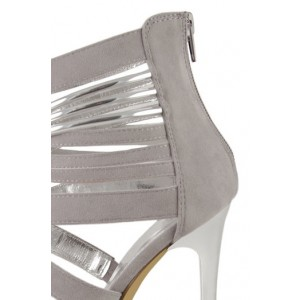 Women's Grey Suede Ankle Strap Sandals Strappy Stiletto Heels