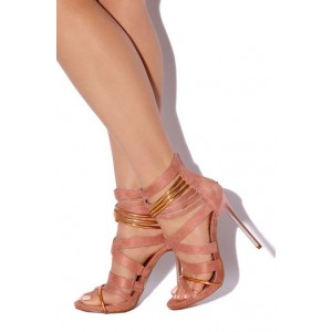 Pink and Gold Strappy Sandals Suede Stiletto Heels