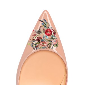 Women's Nude Pointed Toe Floral Office Heels Pumps