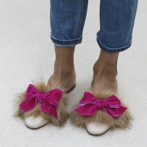 Magenta Bow and Khaki Furry Mules