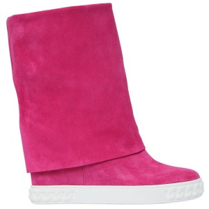 Magenta Fashion Boots Suede Comfortable Mid Calf Flat Boots for Women