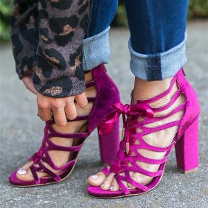 Magenta Lace up Heels Velvet Chunky Heel Sandals