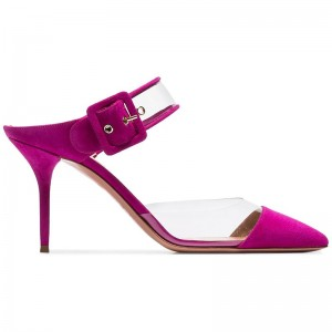 Magenta Suede and PVC Pointy Toe Buckles Mule Heels